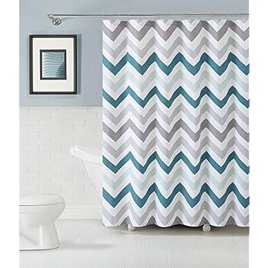 GoodGram Chevron Cotton Fabric Shower Curtain - Assorted Colors (Aqua)