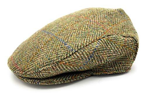 TARTAN TWEEDS Harris Tweed County Berretto piatto verde a spina di pesce Made in Scotland A spina di pesce verde. M