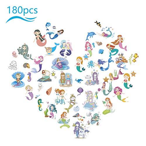 ZERHOK 180Pcs Meerjungfrau Tattoo Kinder Set, Mermaid Kindergeburtstag Mitgebsel Mädchen farbenfrohe Aufkleber Niedlicher klebetattoos für Geschenktüten