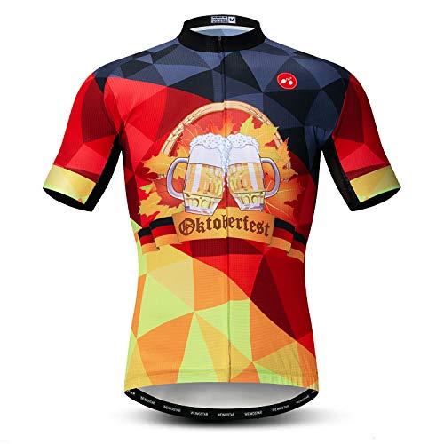Weimostar Radfahren Jersey Herren Radfahren Kleidung Fahrrad Jersey Top Mountain Road MTB Jersey Shirt Kurzarm Atmungsaktive Team Sport Deutschland rot Größe M
