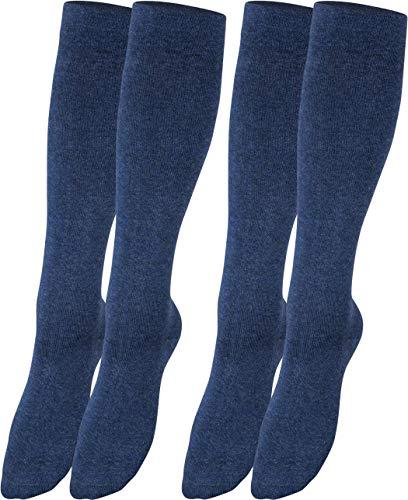 RS. Harmony Stützkniestrümpfe mit Kompression für lange Flug-reisen und Auto-fahrten sowie für's Büro, Thrombose Socken und Stützstrümpfe gegen geschwollene Beine, 2 Paar, jeans, 43-46