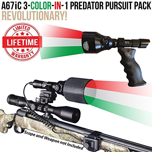 Wicked Lights A67iC 3-Color-in-1 (Green, Red, White LED) Predator Pursuit Pack with Intensity Control for Night Hunting Coyote, Predator, Varmint & Hogs