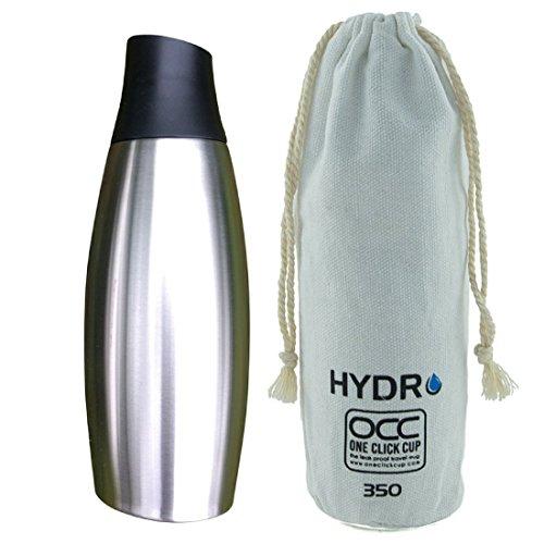 HYDRO Bottiglia di Acqua in Acciaio Inossidabile - Termos Acqua con Doppia Parete ed Isolamento Vuoto d'Aria - Borraccia Senza BPA - Anti-Perdita - Bottiglia a Manipolazione Facile One-Click 350 ml