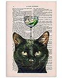 Azsteel - Póster de ginebra de gato negro | Cartel sin marco para decoración de oficina, el mejor regalo para familia y amigos de 11,7 x 16,5 pulgadas