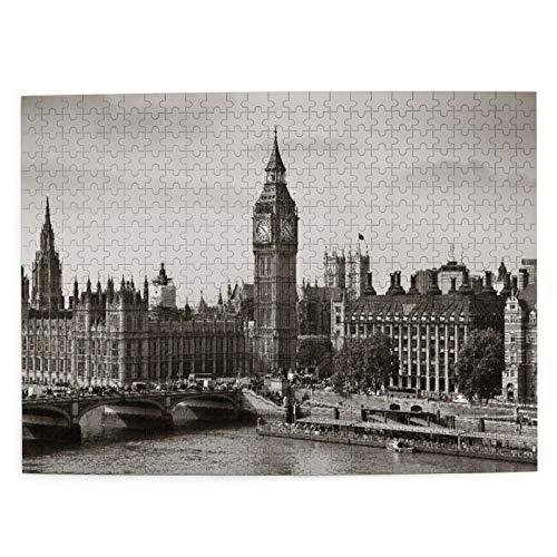 CVSANALA Rompecabezas con Imágenes 500 Piezas,Londres,Westminster con el Big Ben y el Puente nostálgico Arquitectura Antigua británica,Juego Familiar Arte de Pared Regalo,20.4' x 15'