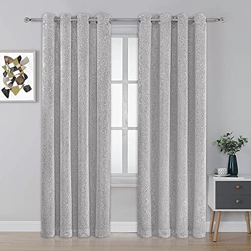 """Metallic Sparkle Chic Thermal Blackout Curtains Panel Grommet Curtains for Bedroom Living Room, 52"""" W x 84"""" L, Gray, 2 Panels"""