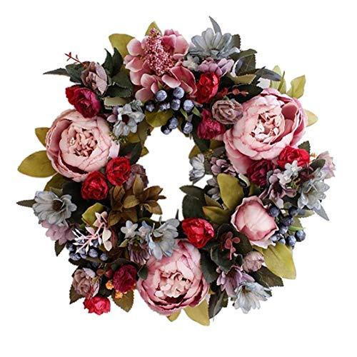 tJexePYK Türkranz 35cm künstliche Blumen-Kranz-Rosa-Fälschungs-Pfingstrosen-Blumen-Girlande für Haustür Wand Hochzeit Dekoration Supplies