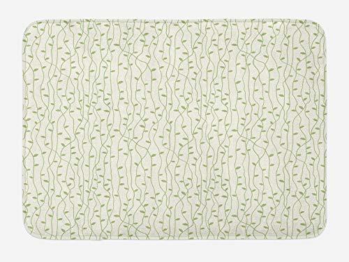 Alfombra de baño verde y beige, hojas verdes sobre ramitas enredadas delgadas, follaje con tema de naturaleza fresca, alfombra de felpa decorativa para baño con respaldo antideslizante, verde pistacho