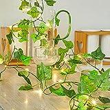 Cadena de luces solar Ivy con hojas de arce artificiales, 5 m, 50 ledes, guirnalda colgante con planta verde, para decoración de pared, boda, hogar, cocina, interior y exterior