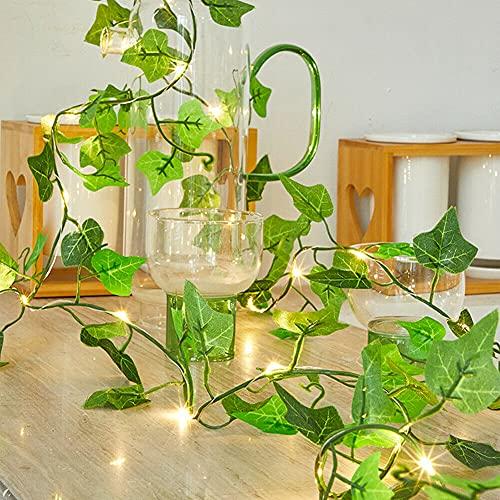 Cadena de luces solar Ivy con hojas de arce artificiales, 5 m, 50 ledes, guirnalda colgante con planta verde, para decoración de pared, boda, hogar, cocina, interior y exterior ⭐