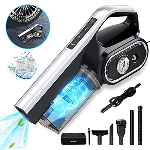 BuTure Car Vacuum, 4 in 1 Multifunction 8000Pa Powerful Handheld Vacuum Cleaner Air Compressor Tyre...