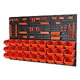 27 Stapelboxen mit Wandregal 120 x 80 cm | Lagerregal Werkzeugwand Werkstatt Garage Wandplatten...