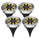 Vegena Solar Bodenleuchten 4er Set - Solarleuchte für Garten Solarlampen für Außen Garten Aussen Warmweiss Vergrabene Lichter für Außen Garten LED Einbaustrahler Boden IP44 Wasserdicht für Rasen Patio