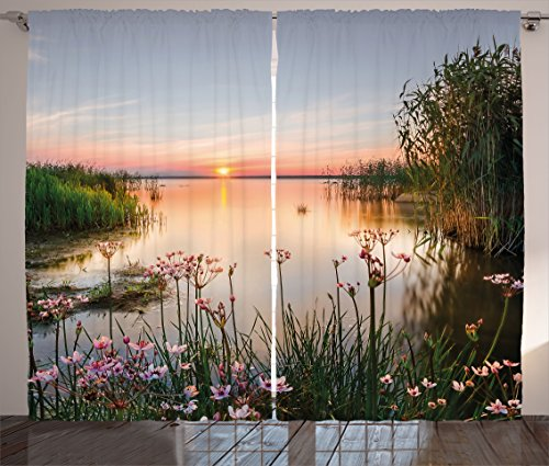 """Ambesonne Landscape Curtains, Chudskoy Peipsi Lake Scenery View in Nature with Flowers Leaves Artwork Photo, Living Room Bedroom Window Drapes 2 Panel Set, 108"""" X 84"""", Green Coral"""