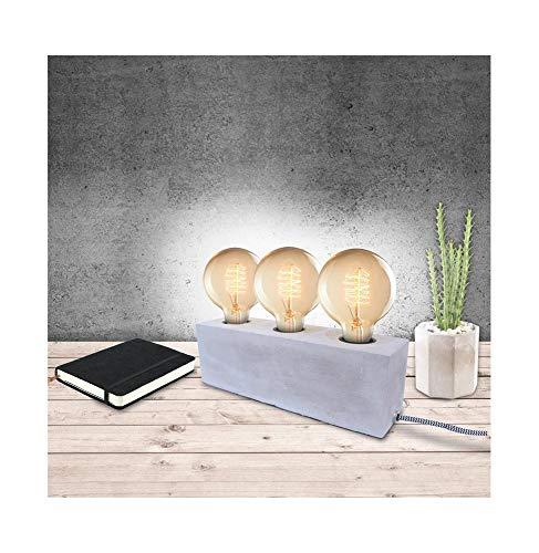 The Home Deco Light Lampe à Poser pour 3 Ampoules Finition Ciment