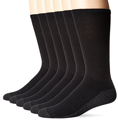 Hanes Men's ComfortBlend Max Cushion Crew Socks 6-Pack, Black Shoe Size: 6-12