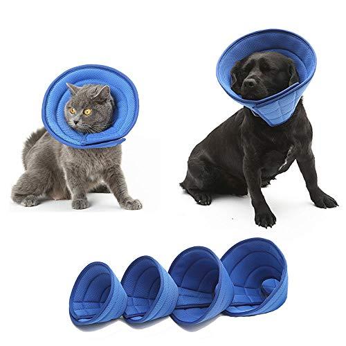 HanryDong Halsband aus atmungsaktivem Netzstoff, Elisabethan, blau, weich, bequem, verstellbar, für schnellere Heilung, Kegel für Haustiere, weiche Kanten, Anti-Biss/Lick für Katze, Hund, Kaninchen
