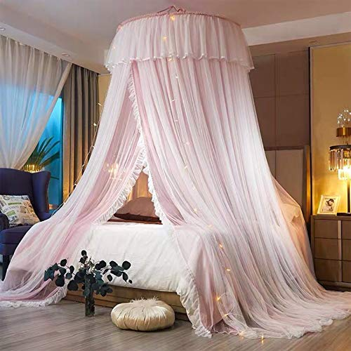 Mosquitero de encaje con domo Queen Size Beds Anti-Mosquito, Rosa