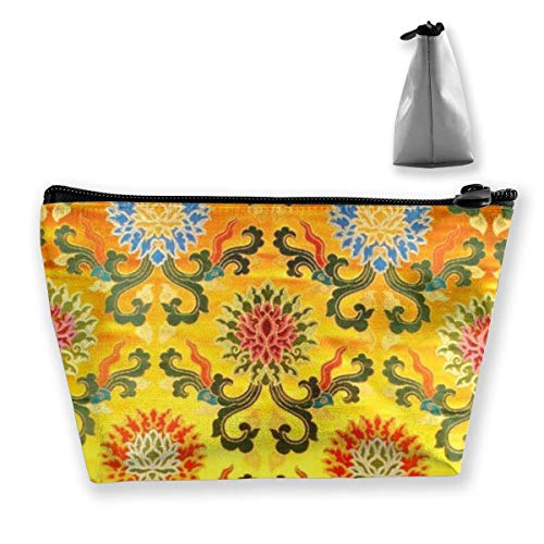 Bolsa de almacenamiento de cosméticos de viaje trapezoidal de flores indias