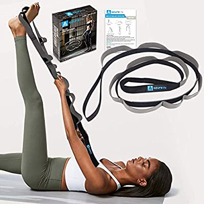 A AZURELIFE Multi-Loop Yoga Strap, Light and Practical Stretching Strap for Rehab, Yoga, Pilates, Dance, Physical Therapy and Gymnastics with Instruction Guide