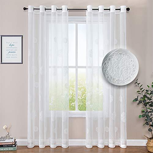 MRTREES Voile Vorhänge halbtransparent Vorhang kurz im Blumen Stickerei Modernen Wohnstil Sheer Gardinen Weiß 225×140cm (H × B) für Wohnzimmer Schlafzimmer Kinderzimmer 2er- Set