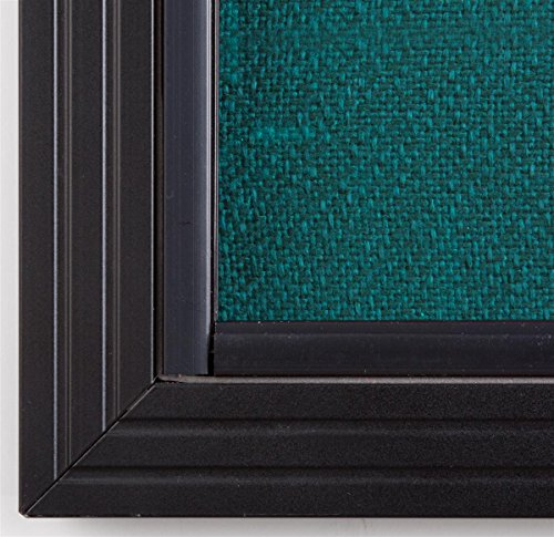 4 x 3 Foot Teal Fabric Tack Board for Wall Mount Use, Locking Sliding Glass Door, 48 x 36 Inch Enclosed Bulletin Board for Indoor Use - Black Aluminum with Teal Fabric Photo #5