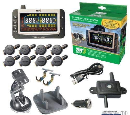 TST 507 Series 8 Flow Thru Sensor TPMS System Color Display and Repeater | RV Wireless Tire Pressure...