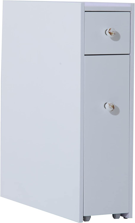 HOMCOM Bathroom Floor Cabinet Shelf Storage Organizer Stand Furniture with Wheels White (No Newspaper Rack)