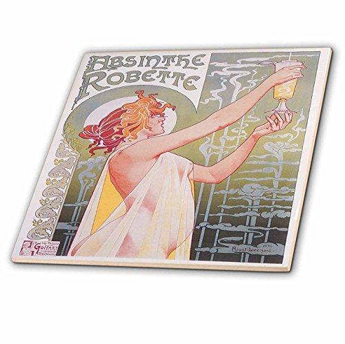 3dRose ct_149289_4 Vintage Absinthe Robette Französische Weinwerbung Poster Keramik Fliese, 30,5 cm