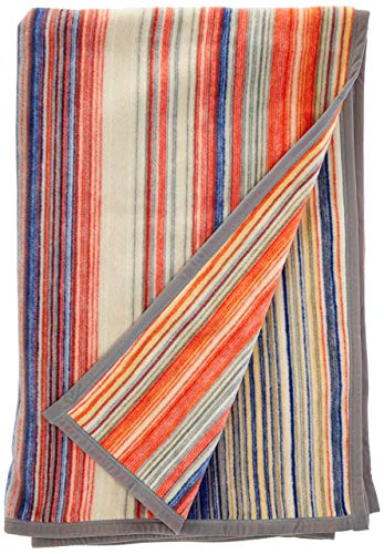 biederlack Kuscheldecke 150x200 cm I Soft Cotton bunt gestreifte Wohndecke I 60% Baumwolle, 40% dralon I Made in Germany, Multicolor, orange, blau, braun, Natur