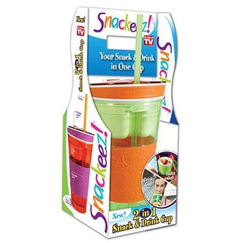 IDEA VILLAGE PRODUCTS SNAKZ Snackeez Snack & Drink Cup, Multicolor