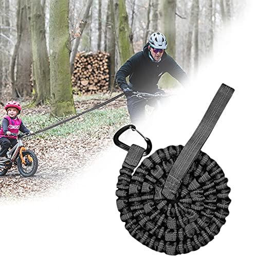 Cuerda de Remolque MTB, Cuerda de Remolque Bicicleta para Niños, Universalmente Duradera, Para Bicicletas, Bicicleta Eléctrica, Adultos, Negro (3M, Hasta 500 lb / 225 kg)