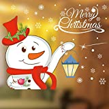 Yusongirl Christmas Windows Stickers Cute Santa Claus Snowflakes Removable DIY Wall Window Clings Door Mural Decals Sticker for Showcase (B)