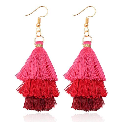 Pendientes bohemios de 3 capas con flecos y flecos de lujo con borla de estilo bohemio y bohemio para San Valentín