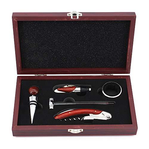 MoYouno Set di 5 apri vino con scatola regalo in legno, acciaio inossidabile con kit cavatappi con manico in legno