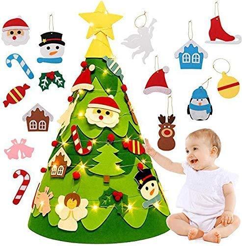 Queta LED Feltro Albero Natale 3D per Bambini, DIY Albero di Natale per Bambini con 26pcs Ornamenti Staccabili + LED String Light, Regali di Natale Nuovo Anno (75 x 48cm)