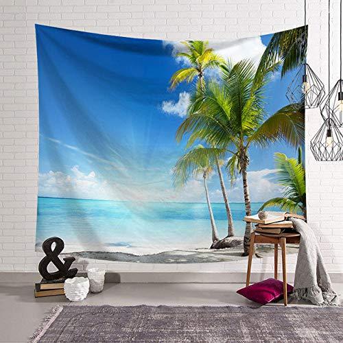 Tapiz de Sol y mar, océano, Playa, Colgante de Pared, Paisaje de Agua, decoración de Playa, Nube Azul, Manta espumosa Azul, poliéster Hecho a Mano