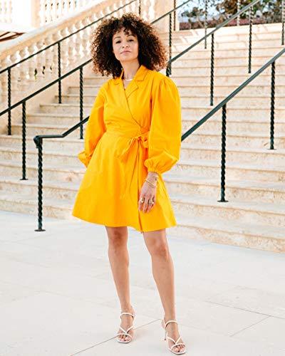 The Drop Women's Saffron Balloon-Sleeve Wrap Mini Dress by @scoutthecity