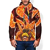 Fashion Pullover Hoodie Front Pocket Durable Sweatshirt Anime Naruto Cool Uzumaki Nine-Tails Chakra Costume for Casual