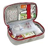 Oxford Gewebe Medizintasche, Reiseapotheke Tasche, Betreuertasche für Familien Erste Hilfe Tasche Notfalltasche Rot/Grau - 2