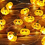 ZALALOVA Halloween Pumpkin String Lights, Halloween Decorations 10.1 Ft 30 LEDs 3D Jack-O-Lantern Lights Battery Operated with Remote Timer for Thanksgiving Halloween Christmas Outdoor Indoor D¨¦cor