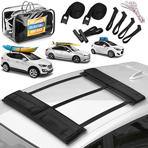 Top Up Universal Roof Rack | Roof Rack Pads for Car with 2 Tie Down Straps, 4 Car Beam Hooks, and Carrying Case – Adjustable and Removable Canoe/Kayak/Surfboard/SUP/Paddle Board Rack by SCOMBI