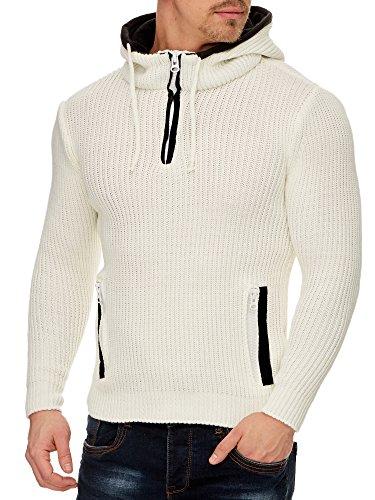 Tazzio Herren Styler Pullover mit Kapuze 16492 Ecru L