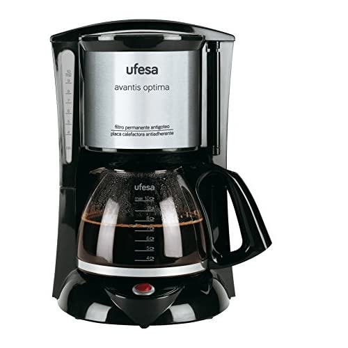 Ufesa CG7232 Avantis Optima Macchina per caffè Americano, Filtro permanente, Grigio, 800W, 10 tazze, Capacità 1 L, Bicchiere di vetro, Visore del livello acqua, Sistema Aroma Plus. BPA FREE