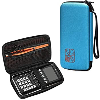 BOVKE Hard Graphing Calculator Carrying Case for Texas Instruments TI-84 Plus CE/TI-83 Plus CE/Casio fx-9750GII Extra Zipped Pocket for USB Cables Manual Pencil Ruler and Other Items Blue