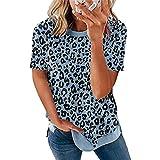 Camiseta Mujer Verano Sexy Patrón De Leopardo Cuello Redondo Manga Corta Mujeres Tops Moda Vacaciones Casual Suelto Cómodo Elegante Mujeres Blusa G-Blue XXL