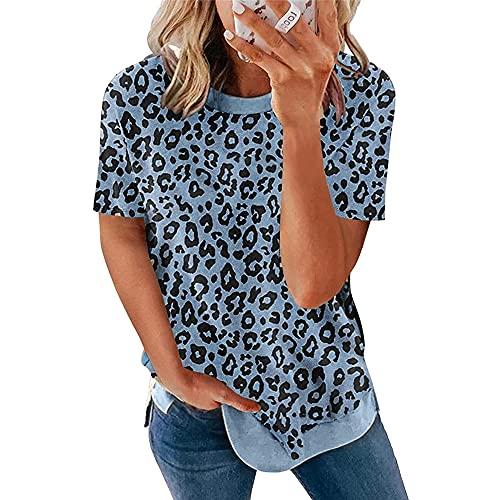 Camiseta Mujer Tops Mujer Sexy Estampado De Leopardo Cuello Redondo Manga Corta Verano Moda Vacaciones Ocio Cómodo Chic Nuevas Mujeres Shirt Mujer Camisas G-Blue 3XL