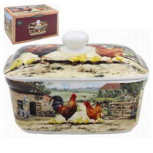 Lesser & Pavey Butterdose Hahn & Henne Country Farmhouse | feines Porzellan | spülmaschinen- und mikrowellengeeignet | The Leonardo Collection |
