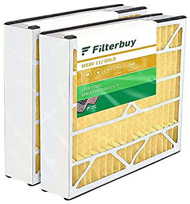 FilterBuy 16x25x3 Air Bear Trion 229990-101 Compatible Pleated AC Furnace Air Filters (MERV 11, AFB Gold). 2 Pack.
