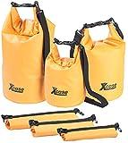 Xcase Gepäcktaschen: 3er-Set wasserdichte Packsäcke aus LKW-Plane, 5/10/20 Liter, orange (Drybag)